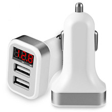 LED Digital Display Dual USB Car Charger For iPhone Samsung LG Redmi OnePlus Tablet Universal Mobile Phone USB Charger 2.1A 1A