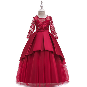 Princess Red Long Sleeves Lace Flower Girl Dresses for Wedding Long Beaded tulle Long Sleeves Prom Pageant Ball Gown new red champagne flower girl dresses long sleeves lace satin mother daughter dresses for children christmas party prom gown