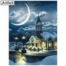 5d алмазная живопись снежный дом луна зимний пейзаж полноразмерная