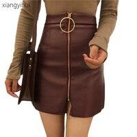 Fashion Autumn Winter Above Knee Black PU A Line Skirts 2017 Jupe Vintage Zipper Wine Red