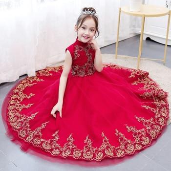 High quality children's dress princess dress red girl birthday dress Chinese girl catwalk piano costume