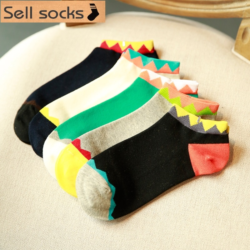 new summer Colorful Sawtooth design man Casual ankle cotton socks men boat sock slippers harajuku EUR39-44