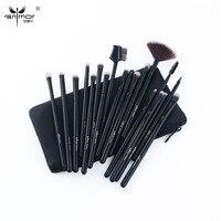 Anmor 19pcs Makeup Brushes Set Pro Black Silver Eye Shadow Blending Fan Make Up Brushes Soft