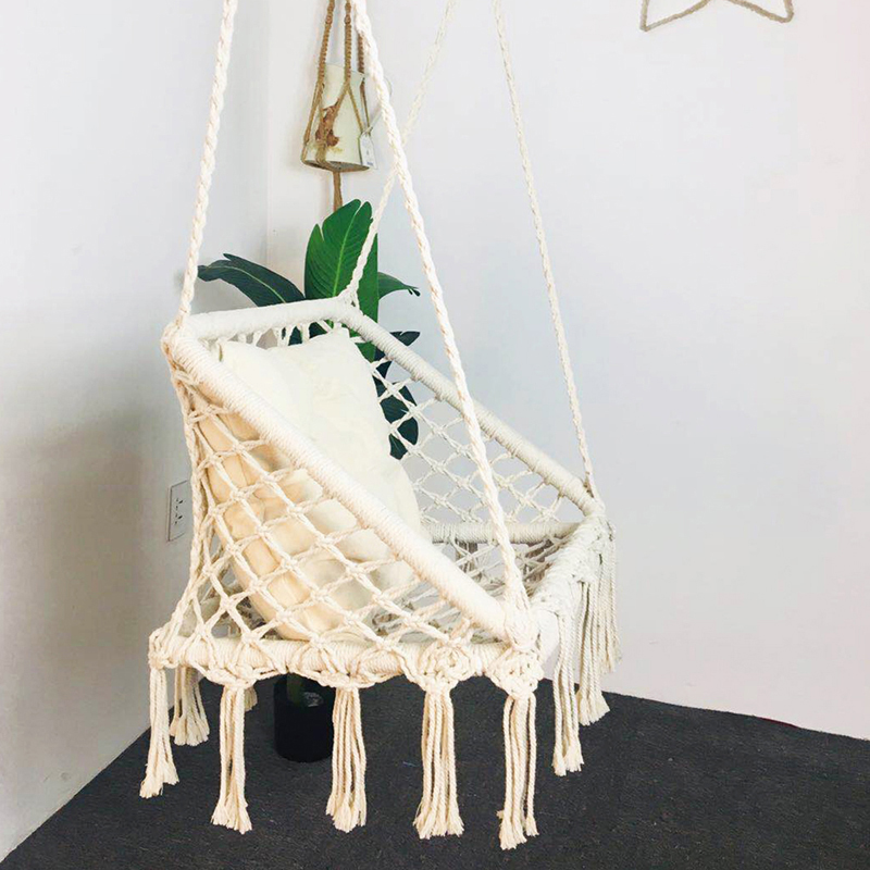 Knitted Macrame Hammock Chair Hanging Cotton Rope Hammock Children Toy Adult Tassel Swing Porch Outdoor Chair Rocking Furniture