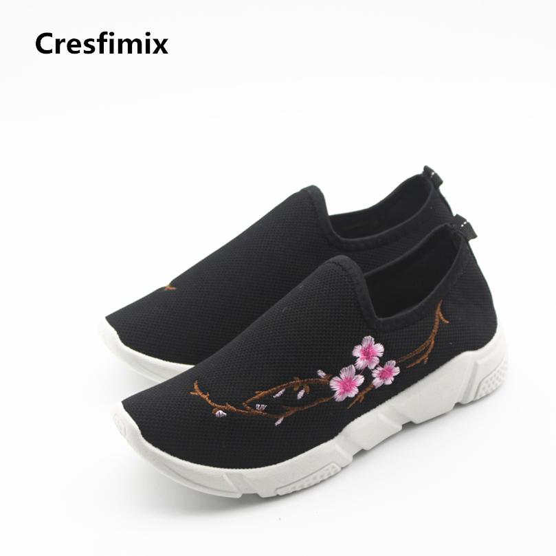 Cresfimix women plus size casual shoes lady soft and comfortable slip on shoes female spring and summer shoes zapatos de mujer cresfimix zapatos de mujer women fashion pu leather slip on flat shoes female soft and comfortable black loafers lady shoes
