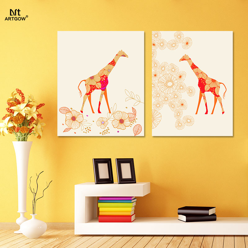 Cartoon Animal giraffe Orange Picture decoration Canvas Painting ...