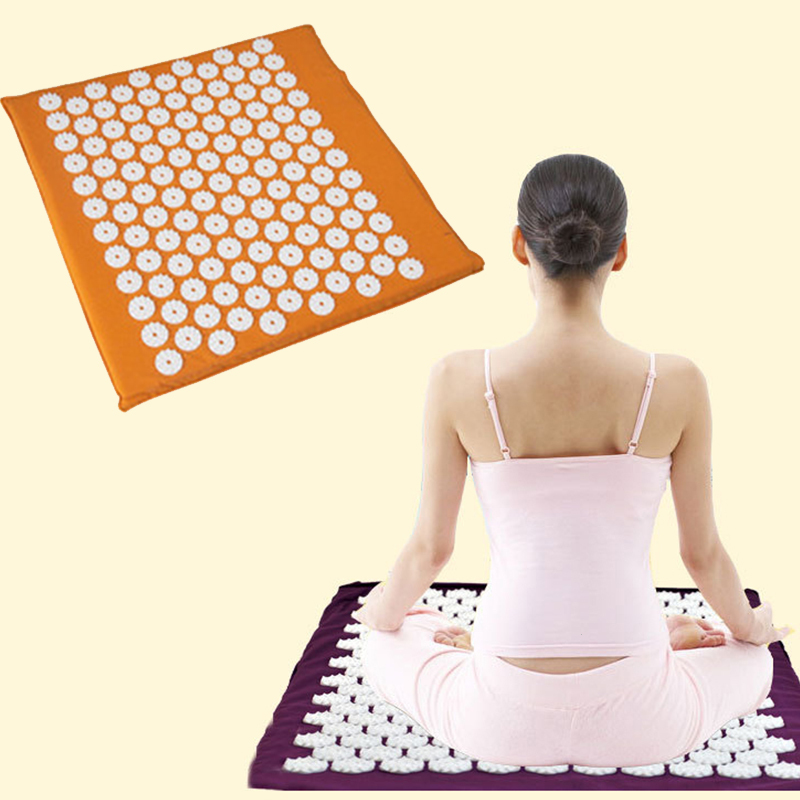 Yoga Mat Relieve Stress Cushion Acupressure Massage Muscle Back Neck Relaxation Exercise Slim Fitness Yoga Mats L35 kifit 2x chinese baoding balls fitness handball health exercise stress relaxation therapy chrome hand massage ball 38mm