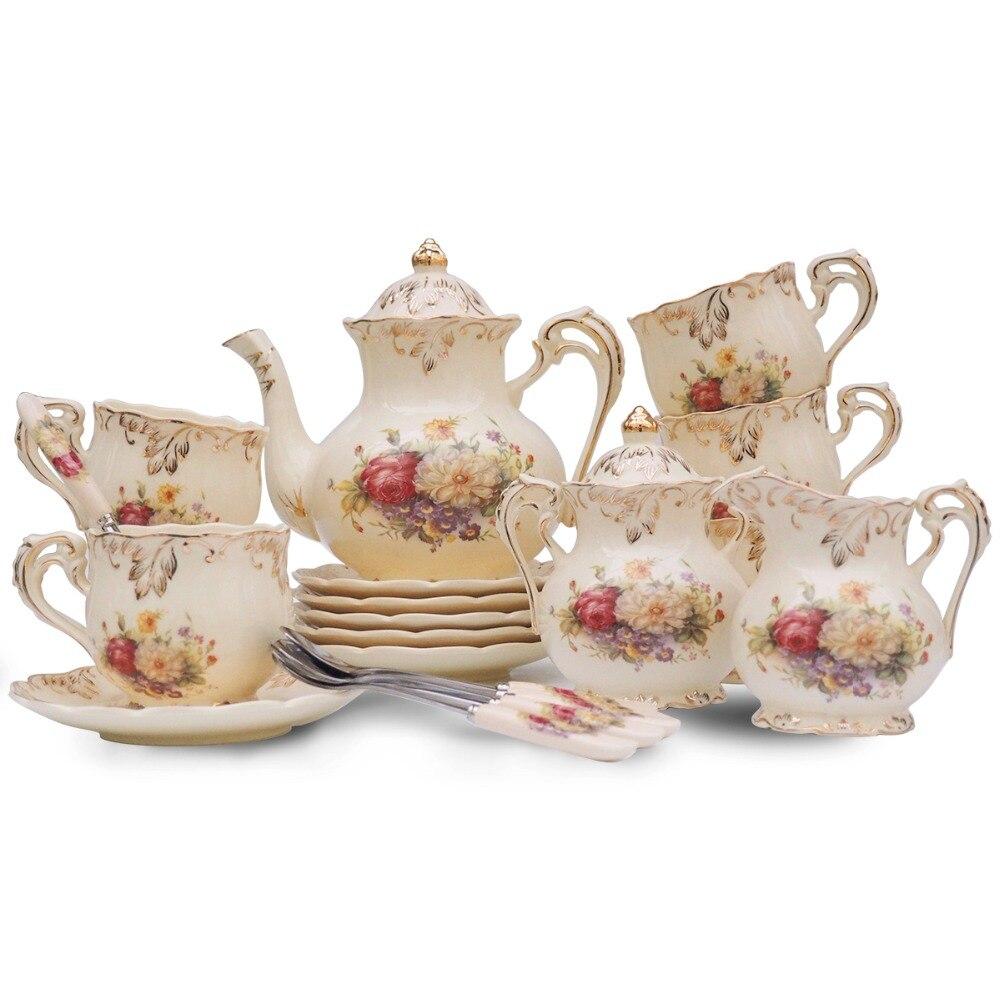15 pz Yolife British Royal Ceramica Avorio Porcellana tazza di Caffè Set Tazza di Tè Vassoio In Ceramica Teiera Pentola Brocca Bollitore di Alta Tè servizio