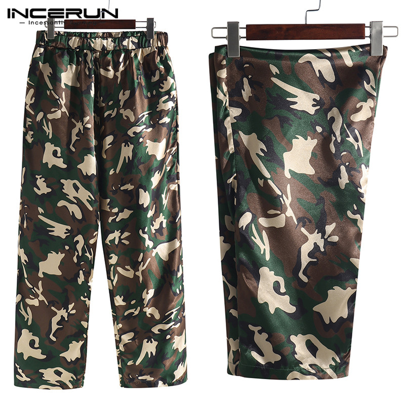 INCERUN 2019 Silk Satin Men Sleep Pants Pajamas Camouflage Print Loose Soft Breathable Sleep Bottoms Men Lounge Pants Hombre 5XL