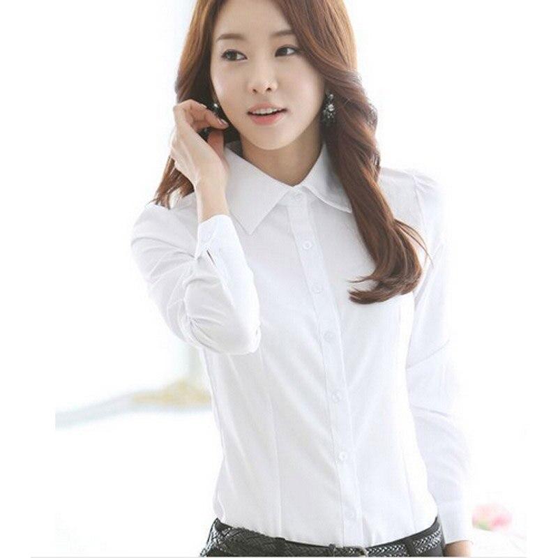 En gros Nouvelle mode Chemise Blanche Femmes vêtements de travail À Manches Longues hauts Mince Chemisiers dames décontracté bureau blusas grande taille 4XL DL1805