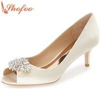 Shofoo Women Ivory White Patent Leather Dark Blue Suede Rinestone Peep Toe Platform High Heels Pumps