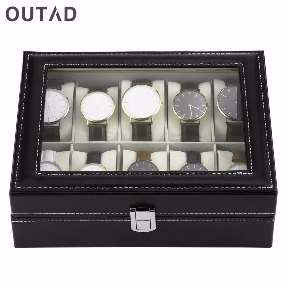 OUTAD 10 Grid Watch Box Display Case Box for Watches Jewelry Black PU Leather Watch Boxes Storage Winder Organizer Holder Gift