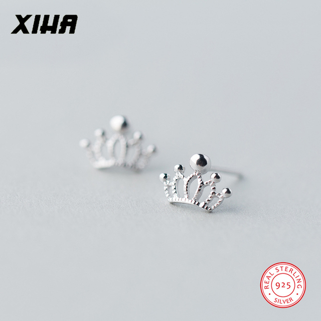 483642051 XIHA 100% Real 925 Sterling Silver Earrings for Women Crown Tiny Small Stud  Earring for