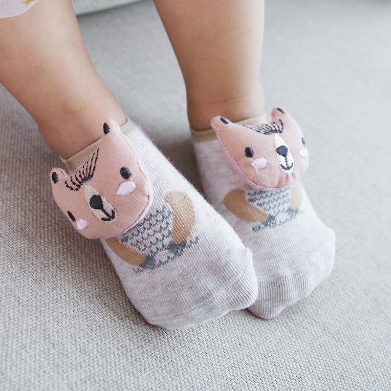 Nicht-slip Socken Für Baby Eingebaute Glocke Stereoskopischen Cartoon Puppe Kopf Socken Neue Frühjahr Baby Socken Kinder Infant Cartoon Socke Verpackung Der Nominierten Marke