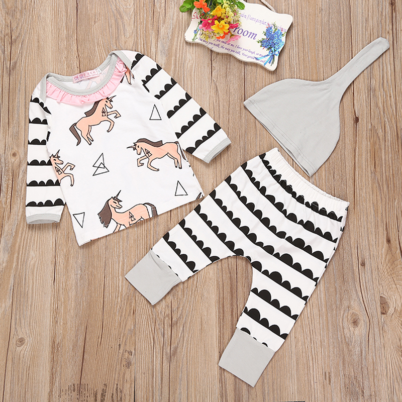 Newborn Baby girls Clothing Set Christmas Infant  girl Clothing 3pcs Tshirt+Pants+Hats Baby girls Sets Thanksgiving Baby Outfit 2017 summer newborn infant baby girls clothing set crown pattern romper bodysuit printed pants outfit 2pcs