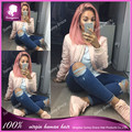 8A Grade Pink Lace Front Human Hair Wigs Ombre 1BTpink Human Hair Bob Wigs Full Lace Human Hair Wigs With Baby Hair