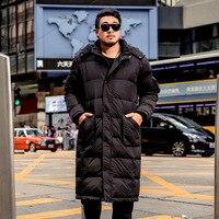 Winter New brand Men's Park jacket Men's Thick Long section Over the Knee jacket Men's / Women's Detachable Hat Cotton coat