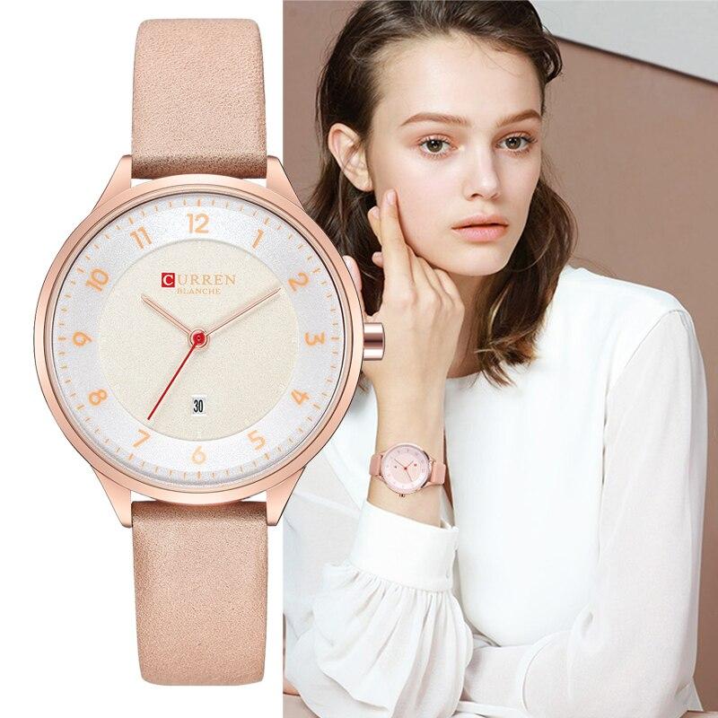 CURREN Luxury Rose Gold Women Watches Fashion Quartz Leather Wristwatches Casual Clock Ladies Wrist Watch 2018 New Montre Femme