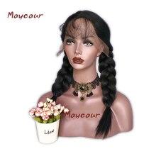8A Light Yaki Synthetic Lace Front Wigs Для чорних жінок Yaki Прямі Волосся Перуки з Дитячим Волоссям