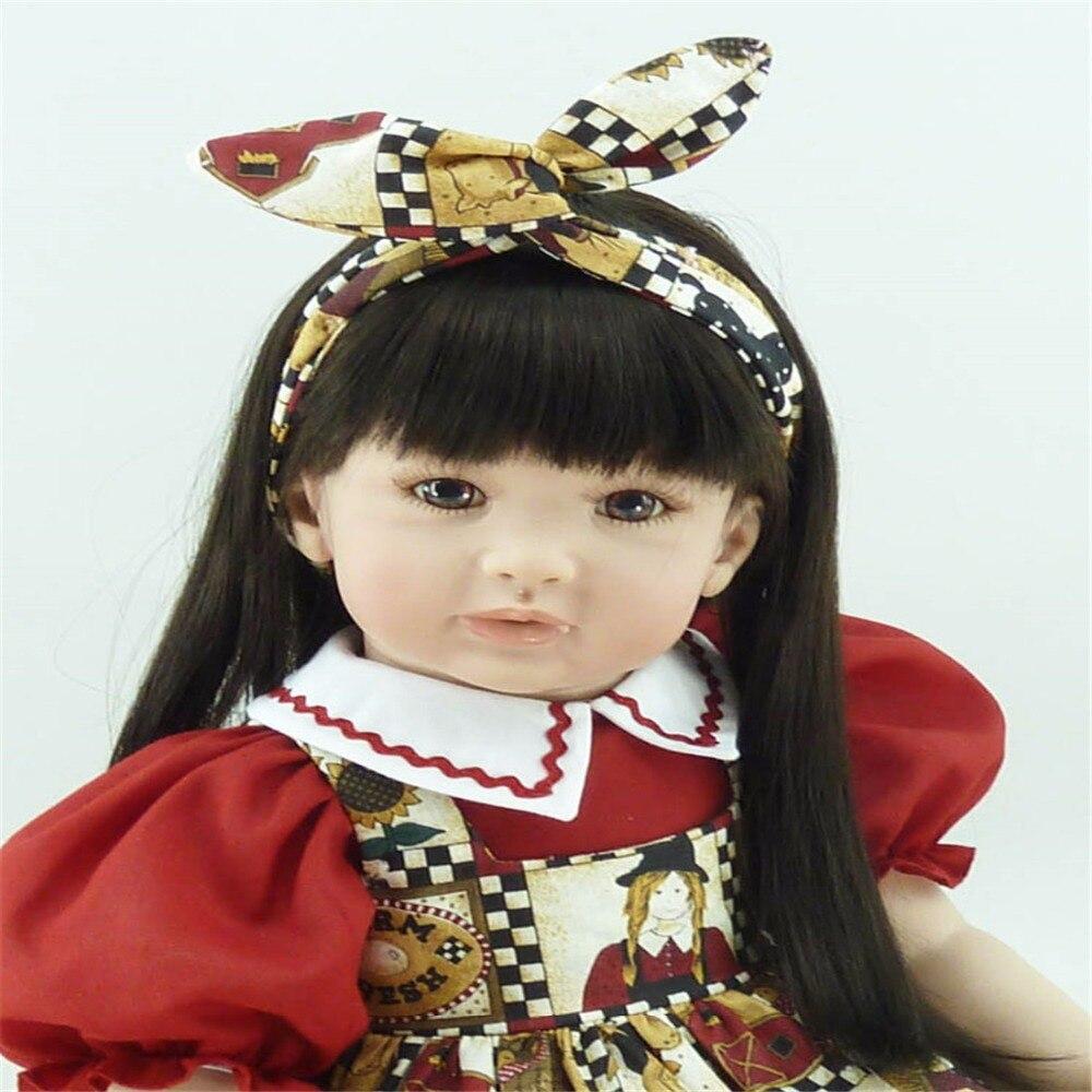 где купить 22 inch 55 cm Silicone baby reborn dolls, lifelike doll reborn babies toys Brown eyed girl with long hair дешево