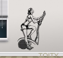Fitness Gym Bike Wall Decal Sport Motivation Vinyl Sticker Club House Interior Art Decor Mural