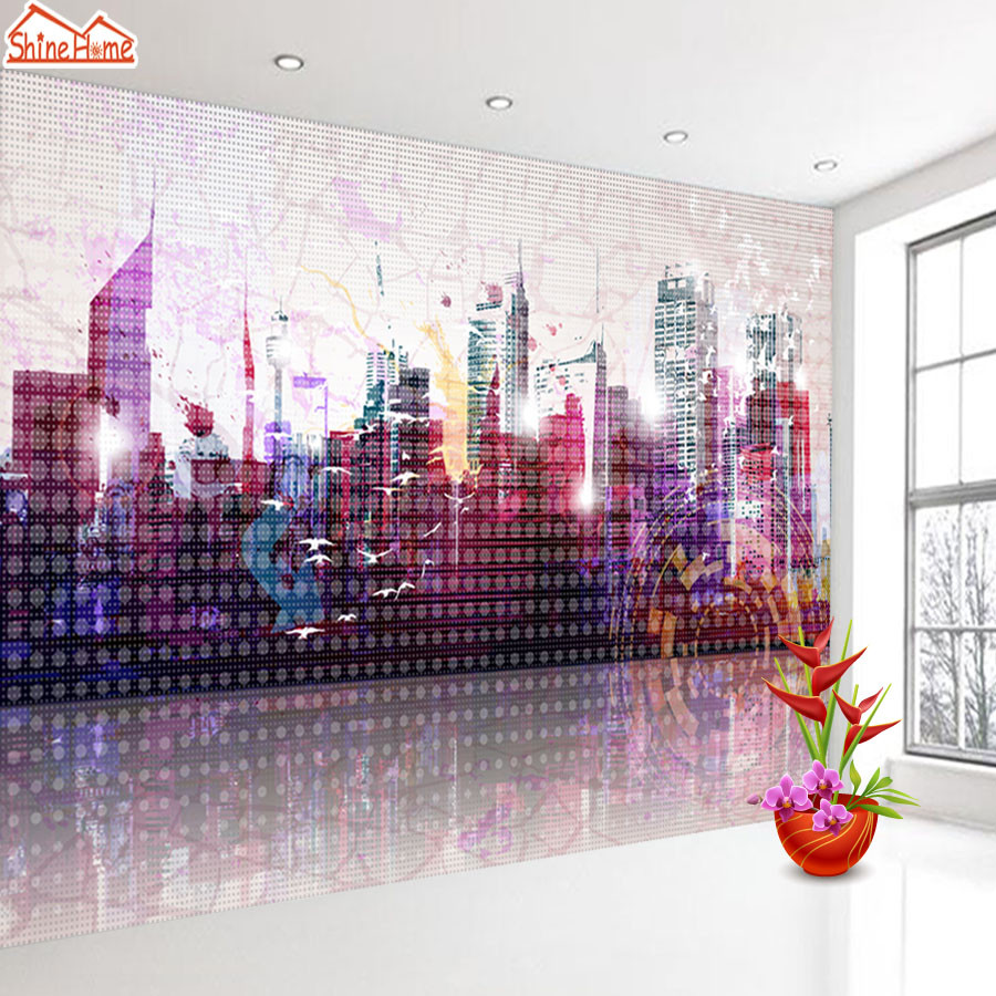 ShineHome-Night City Sketch Building Grid Style 3d Wallpaper Wallpapers Photo Walls Murals for 3 d Living Room Roll Wall Paper shinehome city building wallpaper black and white 3d murals for walls 3 d wallpapers for livingroom kids 3 d mural roll room