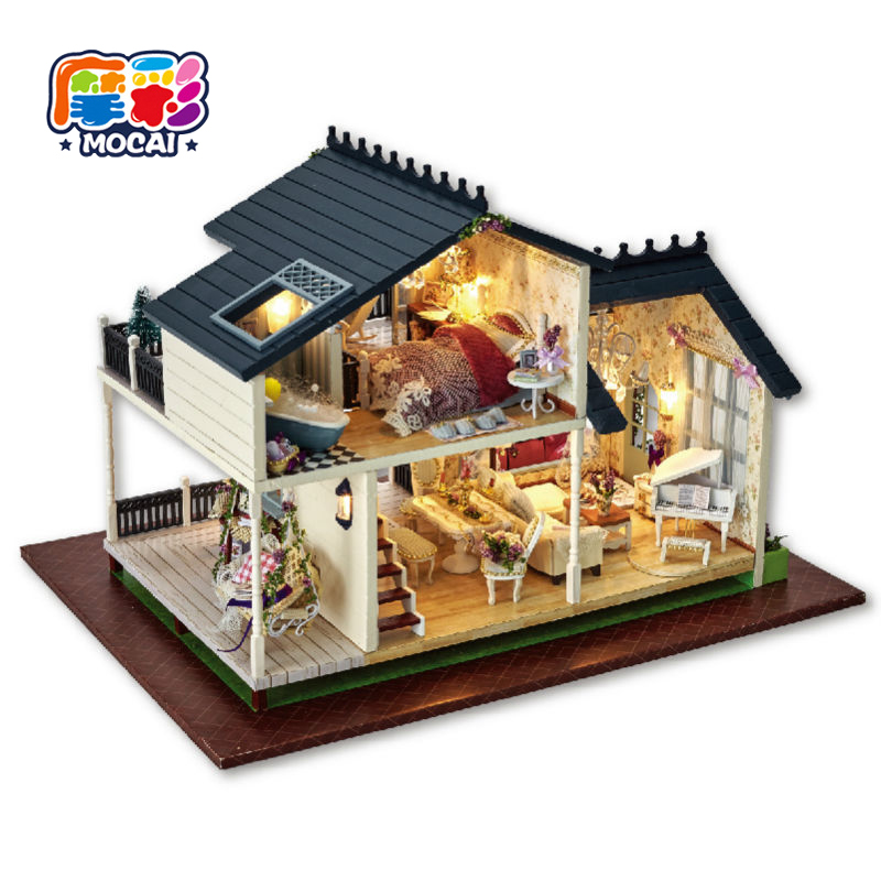 mocai 2017 furniture puppenhaus Diy Doll House PROVENCE Miniature Wooden Building toys Model Dollhouse Furniture Model Birthday diy wooden handcraft miniature provence dollhouse voice activated led light