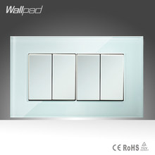 4 Gang 1 Way Switch Knop Wallpad 110-250 v 146*86mm Wit Kristal Glas 2 Model power Push Button Switches Gratis Verzending(China)