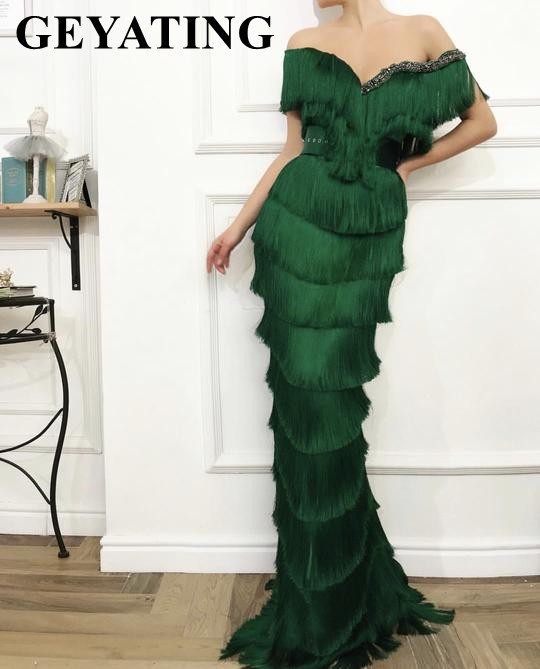 Arabic Wavy Emerald Green Tassel Evening Dress Mermaid Long Crystal Off the Shoulder Elegant Women Formal Prom Dresses in Dubai