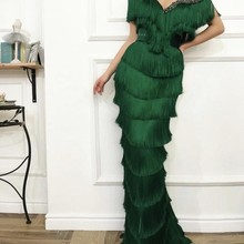 Arabic Wavy Emerald Green Tassel Evening Dress Mermaid Long