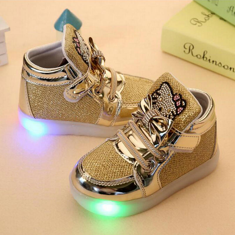 Children Shoes 2017 New Spring Hello Kitty Rhinestone Led Shoes Girls Princess Cute Shoes With Light EU 21-30 ...