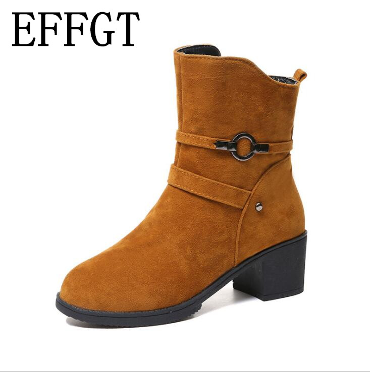 EFFGT New 2019 Winter High Heel Boots Warm Plush Heels