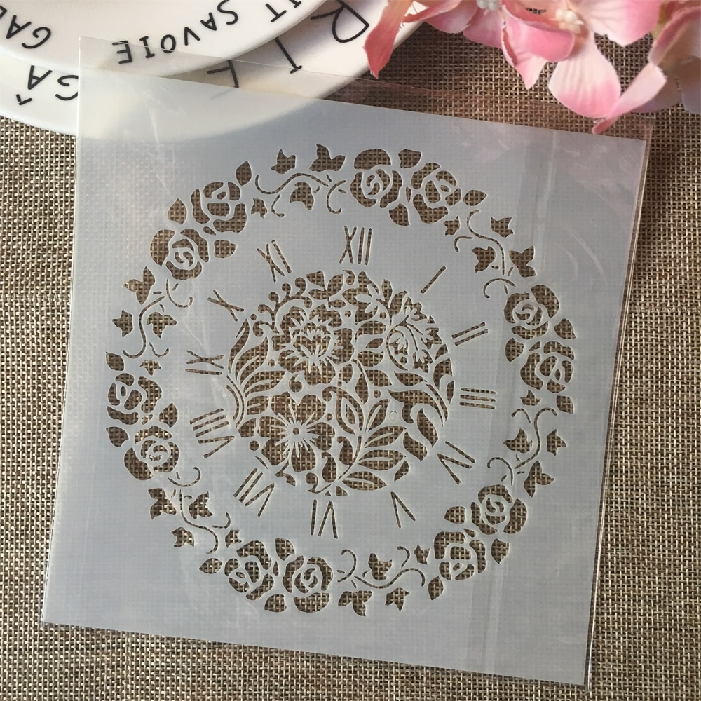 6*6inch Clock Garland Dial DIY Layering Stencils Painting Scrapbook Coloring Embossing Album Decorative Card Template