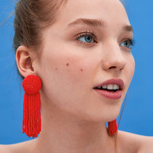 new design Bohemian Trendy Resin Beads Tassel Earring Fashion Fringed Statement Drop Earrings ZA Jewelry for Women(China)