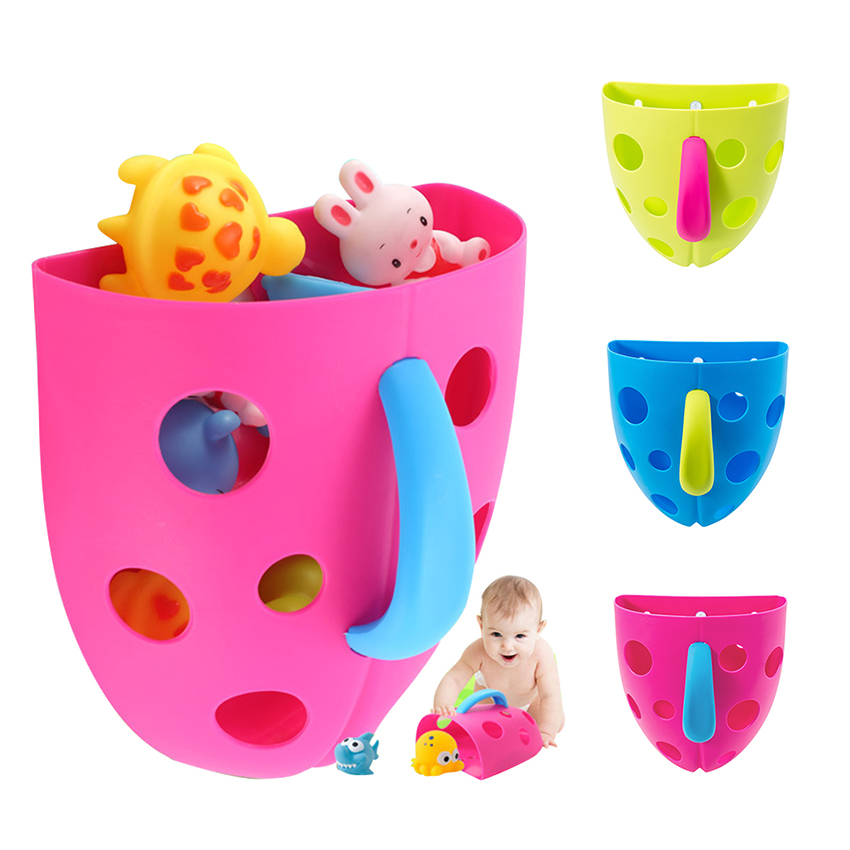 Bathroom Baby Kids Toy Organizer Basket Storage Holder Scoop Drain Hanging Blue To Suit The PeopleS Convenience Bathing & Grooming