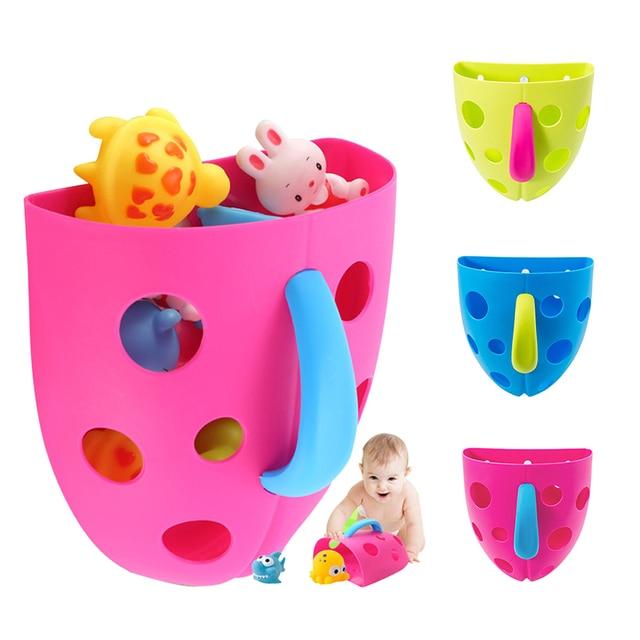Kids Baby Bath Storage Box Tidy Toy Storage Organizer Holder Plastic Box  Baby Bath Drain Suction