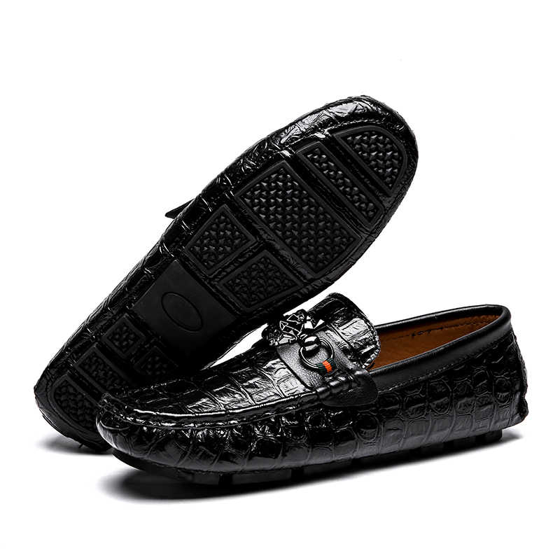 084dbe65923f9 ... High Quality Genuine Leather Alligator Men Driving Shoes Slip On  Breathable Men Boat Shoes Moccasins Loafers ...