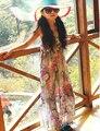 Muchachas de la Flor Impresa Gasa de la Playa Del Verano 2017 Muchachas de Los Cabritos Vestido Bohemio Largo Adolescente Niñas Maxi Dress Girls Clothes