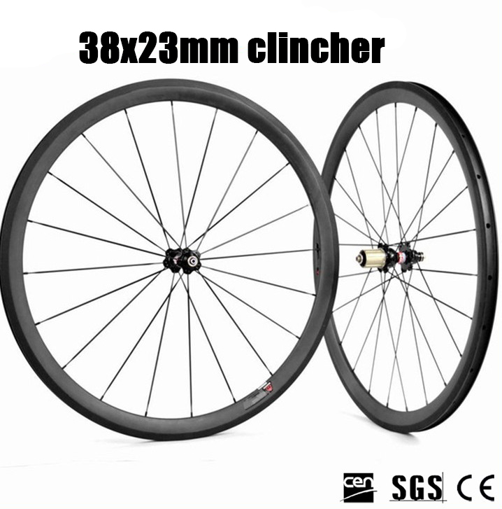 700C Road Bike Carbon Wheels 23mm width 38mm Depth Clincher Rim Novatec 271/372 Hub Racing Training Wheelset white pearl high heel shoes crystal platform bridal wedding shoes diamond rhinestone women shoes formal gown prom shoes