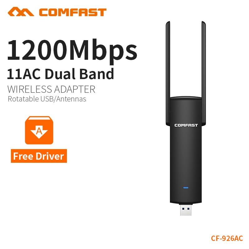 COMFAST usb wifi adapter 1200 mbps Dual Band wi-fi dongle computer AC Netzwerk Karte USB 3.0 antenne 802.11ac/b/ g/n 2,4 ghz + 5,8 ghz