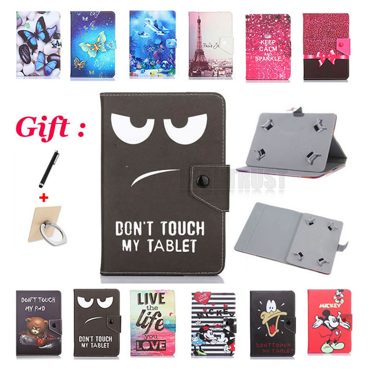 Universal 7 inch Cartoon Pu Leather Stand Case for Alcatel One Touch Pixi 4 (7) 3G 9003X 9003 7 Tablet Cover + 2 Gifts image
