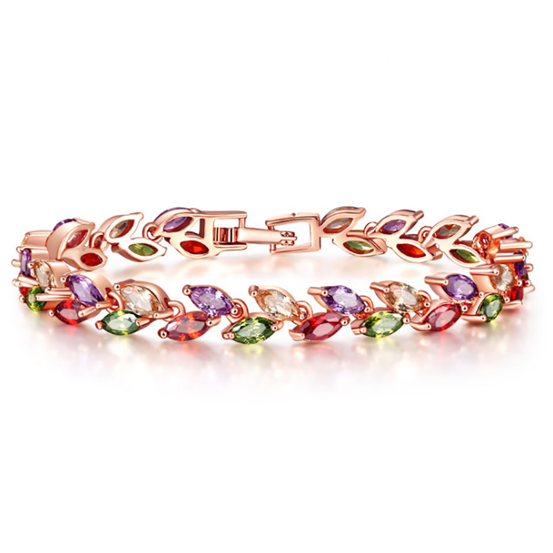 Seven Colors Rainbow Zircon Bracelet For Women Hand Jewelry Multilayer Bangles Birthday Gifts Pulsera Muje