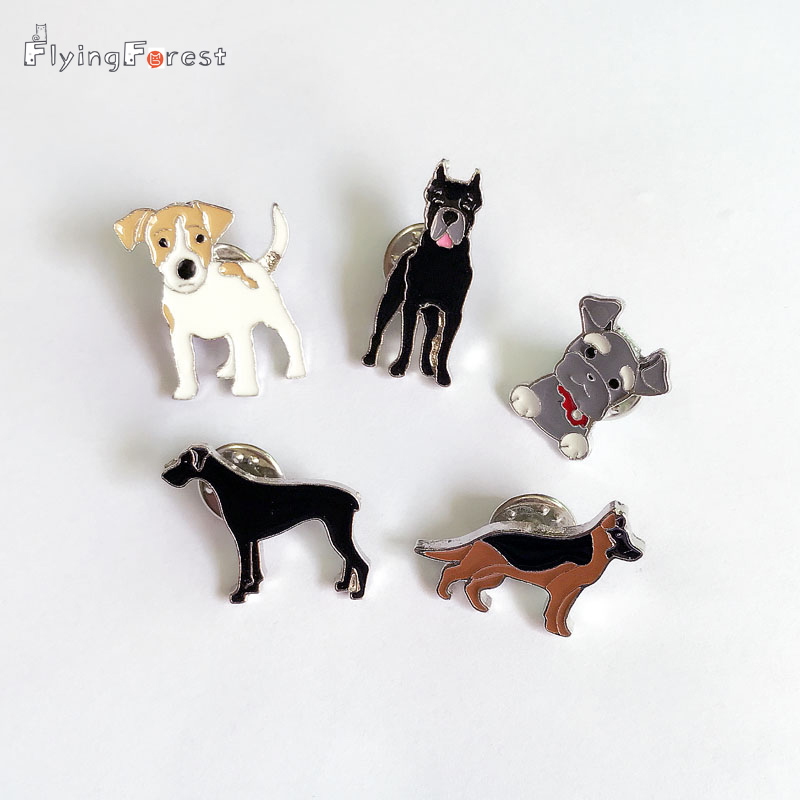 NEW MINI cute dog Brooches Pins Jewelry For Women Suit Hats Men's suits badge German shepherd Brooch handbags charm Badges gifts