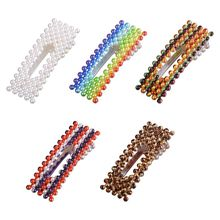 Korean Sweet Girls Hollow Rectangle Plastic Hair Clip Rainbow Leopard Colored Imitation Pearl Women Hairgrip Side Bangs Barrette