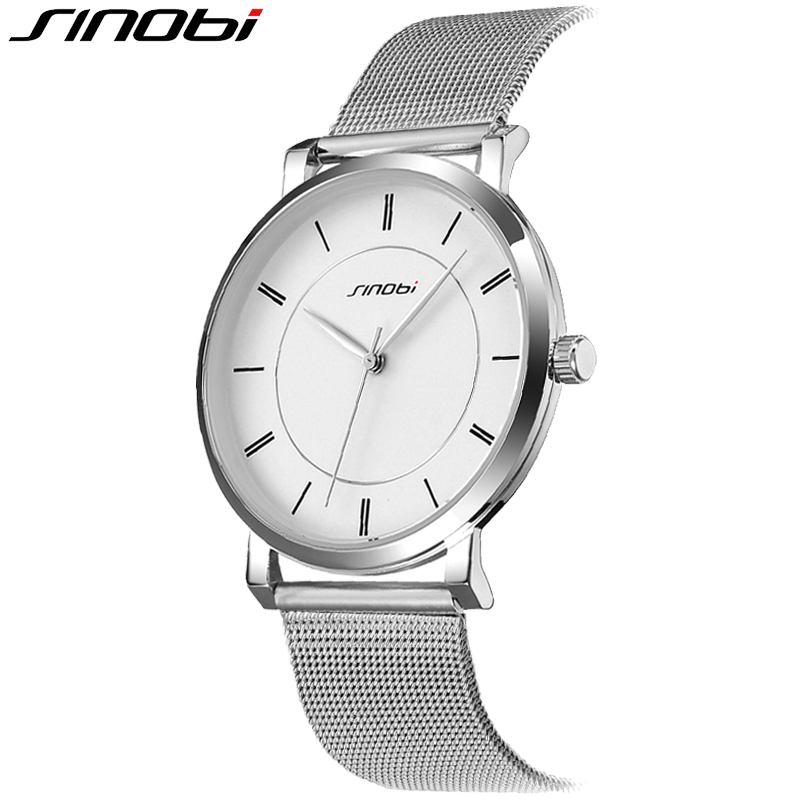 SINOBI Mens Watches Top Brand Luxury Stainless Steel Mesh Strap Watch Men Ultra Thin Dial Clock Man Relogio Masculino 2016 mcykcy fashion top luxury brand watches men quartz watch stainless steel strap ultra thin clock relogio masculino 2017 drop 20