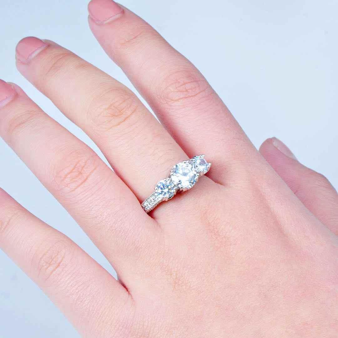 יוקרה נשים של לבן AAA זירקון חתונת טבעת 925 כסף סטרלינג CZ אבן טבעת מחויבות אירוסין טבעת נשים של נשים של טבעת