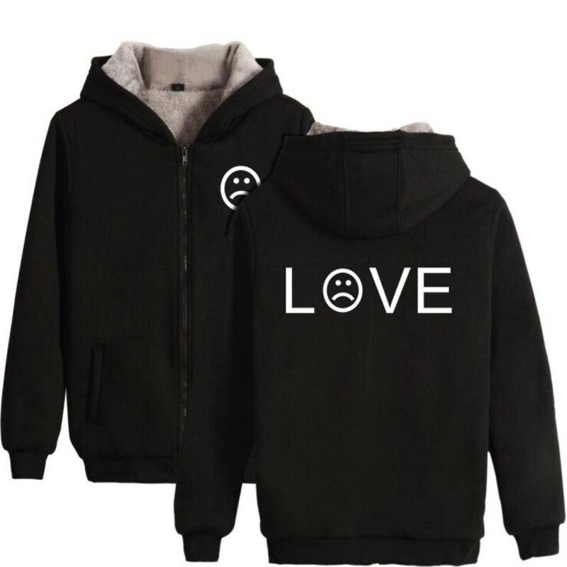 R.I.P Lil Peep LOVE Winter Mens Jackets and Coats Hip Hop Popular Rap Singer Fans Supportive Thicken Warm Hooded Zip Sweatshirt