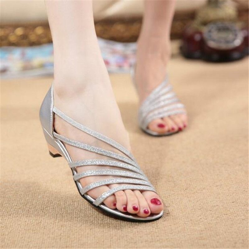Silver sandals female summer open-toed with wild sexy high heel 1