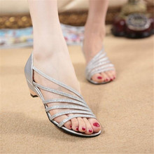 Silver sandals female summer open-toed with wild sexy thin Europe and the United States set foot fish mouth thick with high heel