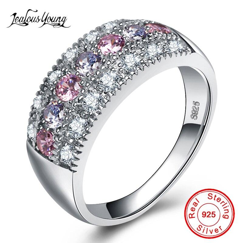 Anillo de compromiso de cristal rosa con Color plateado AAA CZ anillos de piedra para mujer zirconia fiesta joyería regalo anillos mujer